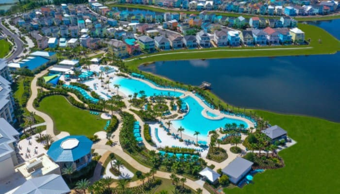 Aerial view of the Margaritaville Resort Orlando Fins Up Pool and Beach Club.