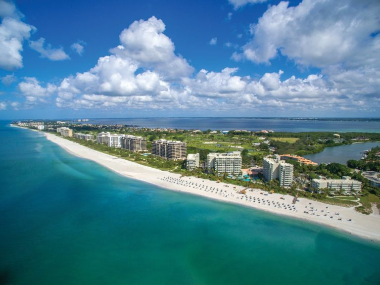 Aerial view of Longboat Key Club and beach